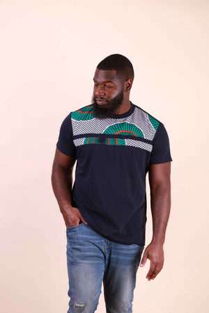 Casual men's shirt. Dark blue men's shirt. African shirt for men. Africa shirt for men.