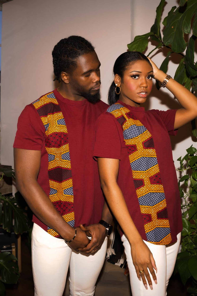 Short sleeve shirt. Red Shirt for men. Red Shirt for Women. African shirt.. Red African shirt. African clothing. Couple outfits.