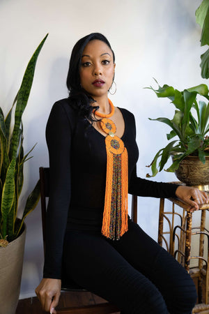long african necklace. Statement piece necklaces