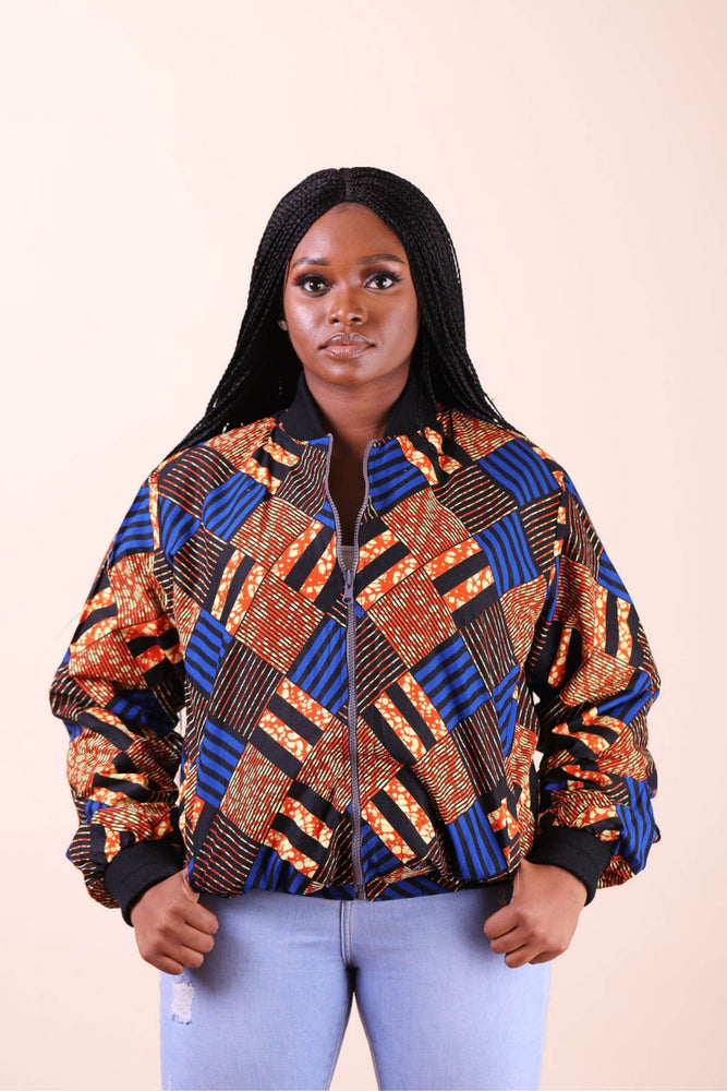 Colorful Bomber Jacket with African prints. African jacket