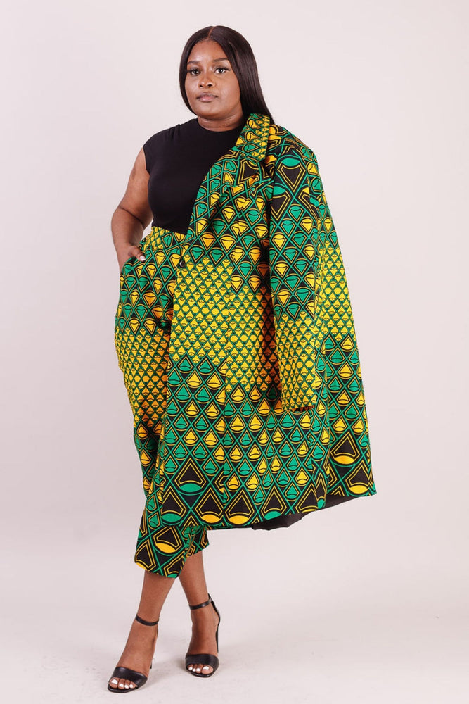 African print jacket for plus size women. African coat for plus size women. African jacket with matching pant for women.