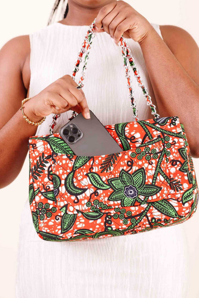 orange bag. african bag. satchel bag. women's bag