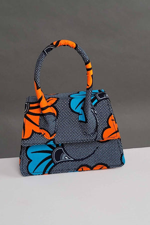 grey and orange African bags. African print mini bags.