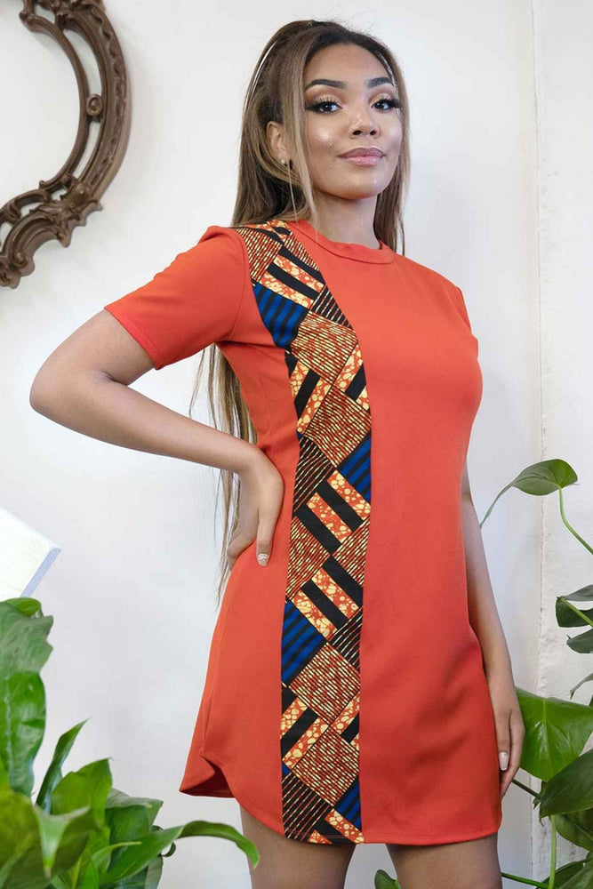 Load image into Gallery viewer, orange african dress
