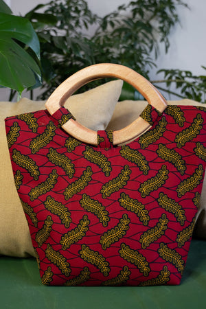 Load image into Gallery viewer, red african bag. african tote bag, african hand bag
