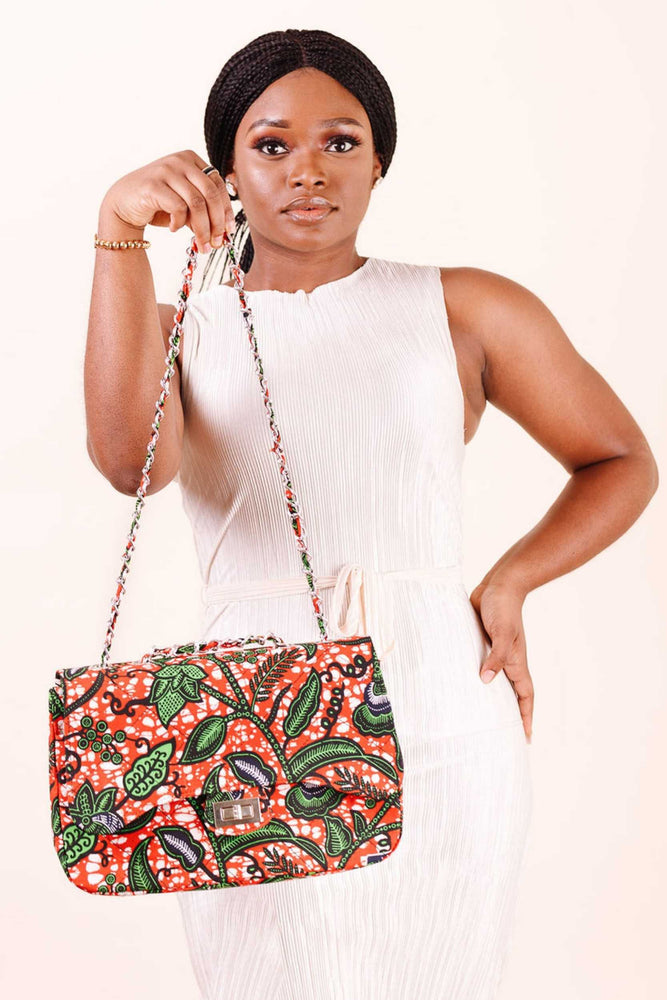 satchel bag. orange bag. women's handbag. African handbag.
