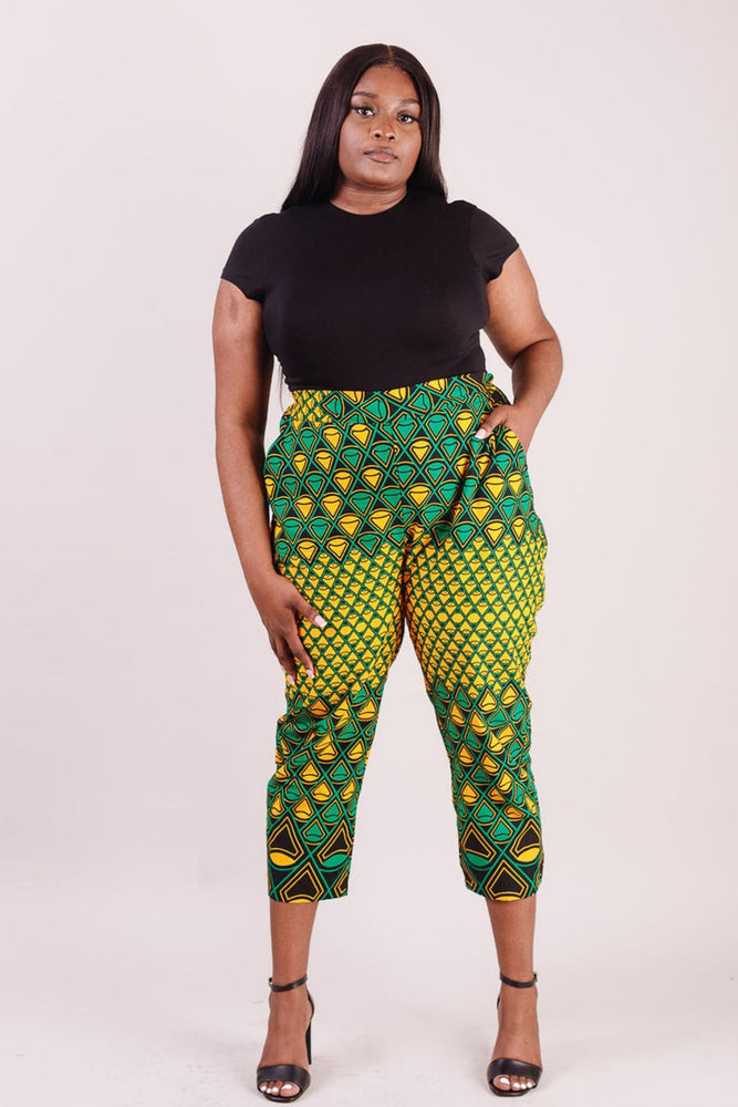 African print pant with pockets. Yellow and green African print pant for ladies. African clothing for women.