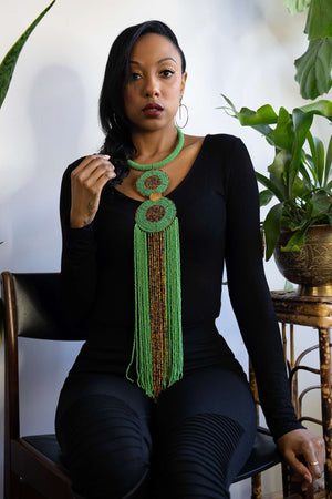 SEYBA-Light Green African Beads Necklace