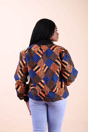 Load image into Gallery viewer, orange and blue African bomber jacket
