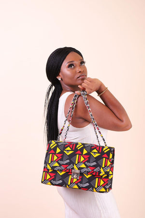 Load image into Gallery viewer, bags with chain. Double chain bags. African bag. African fashion bag