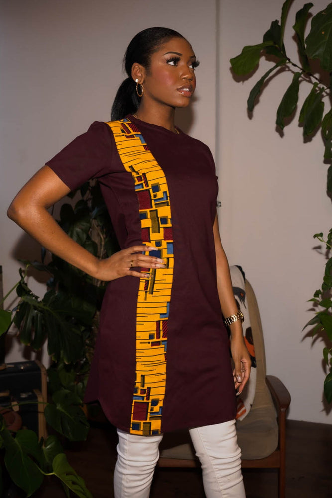 burgundy shirt dress . Ankara shirt dress