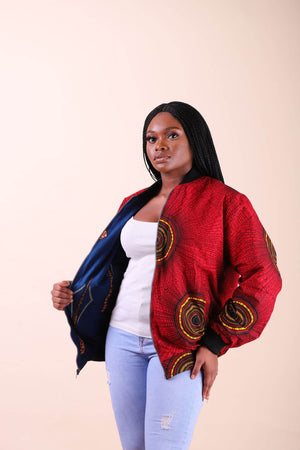 Load image into Gallery viewer, red bomber jacket.  African bomber jacket.