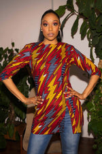 African clothing. Red Top for women. Red and Yellow long top. African print top for women