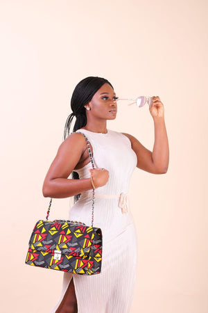 Load image into Gallery viewer, large shoulder bag with chain. African shoulder bag. Large bags for women