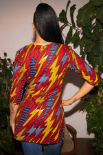 African clothing. Red Top for women. Red and Yellow long top. African  top for women
