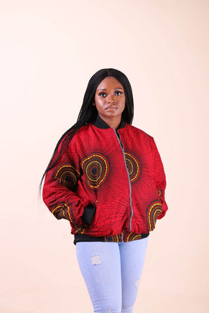 Red African jacket with front pocket.