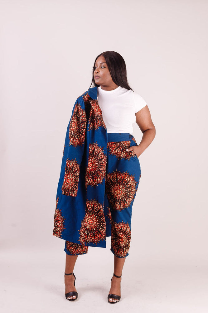 african print pant. African jacket. African top. African print pant. Floral pant with matching jacket.