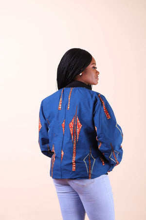Load image into Gallery viewer, African jacket. African blue jacket.