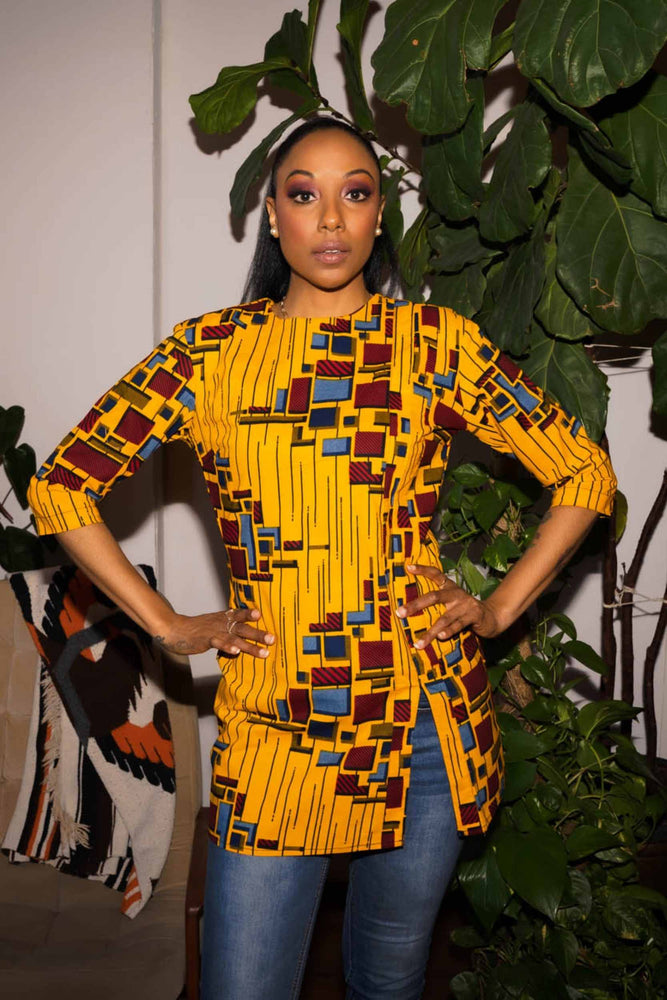 Yellow long top. African yellow top. 3/4 sleeve tops. African clothing for women.