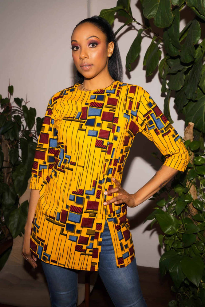 Yellow and Red long top. African yellow top. 3/4 sleeve tops. African clothing for women.