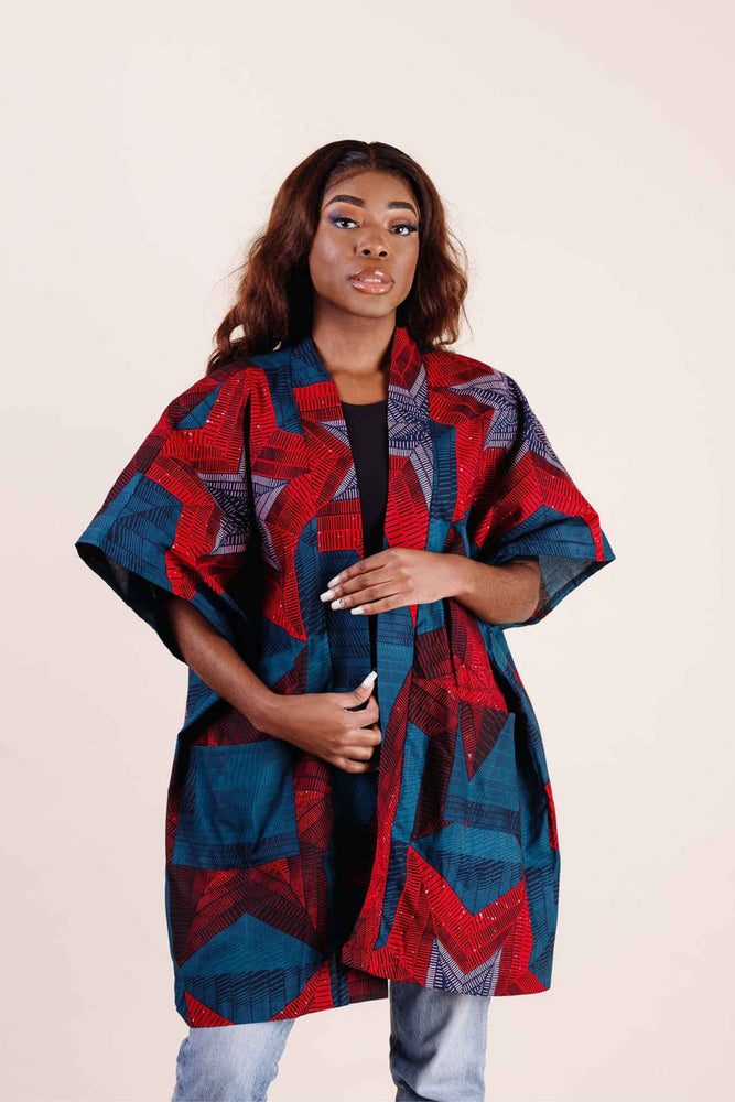 Red and Blue Jacket. Red and Blue Kimono. African kimono. African women. African clothing for women. African tops for women.