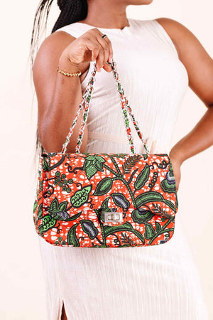 african bag. Orange bag. African print bags. orange purse