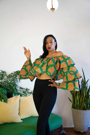 Load image into Gallery viewer, african print crop top