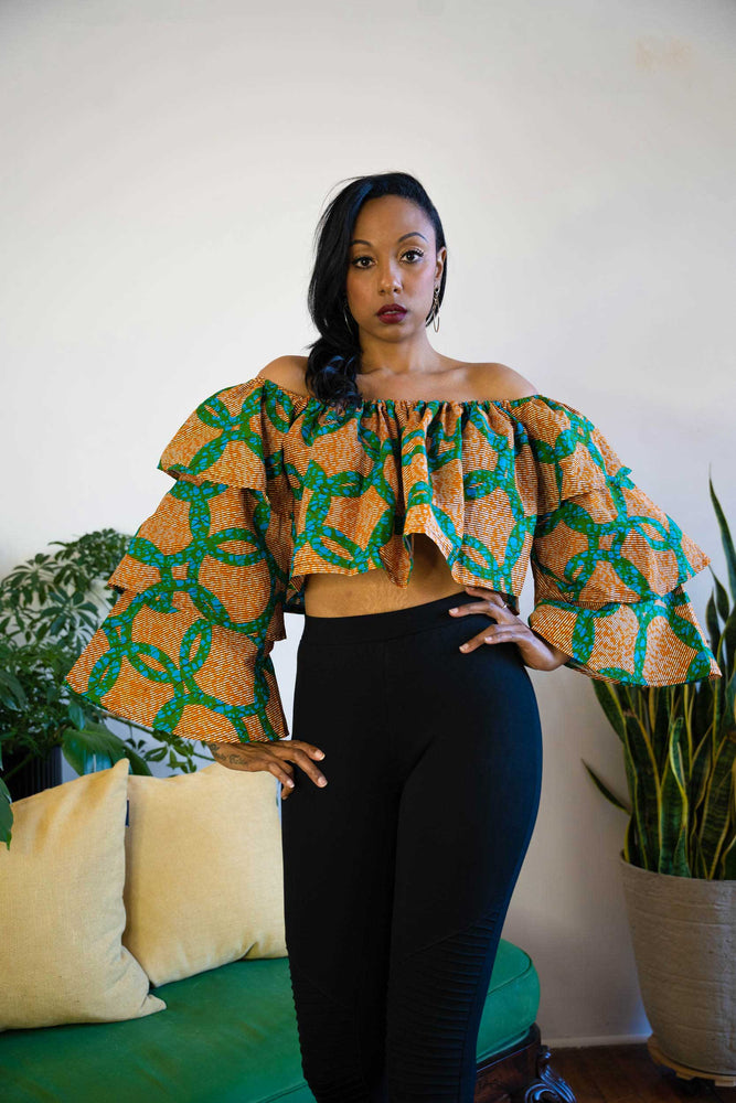 african print long sleeve top