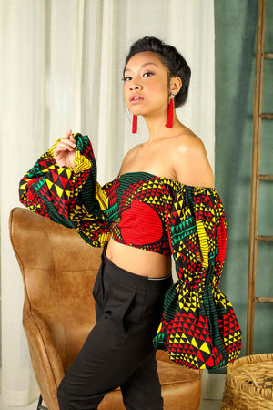 Load image into Gallery viewer, Summer outfit ideas. Summer crop top. african crop top. Animal print top. Red and green crop top. Puff sleeve crop top. African top for women.