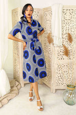 african dress with pockets. blue shirt dress. floral shirt dress. floral jacket. floral long top. blue dress with belt. Belted long dress. Africa dress for ladies. African woman dress. African print dresses for women.
