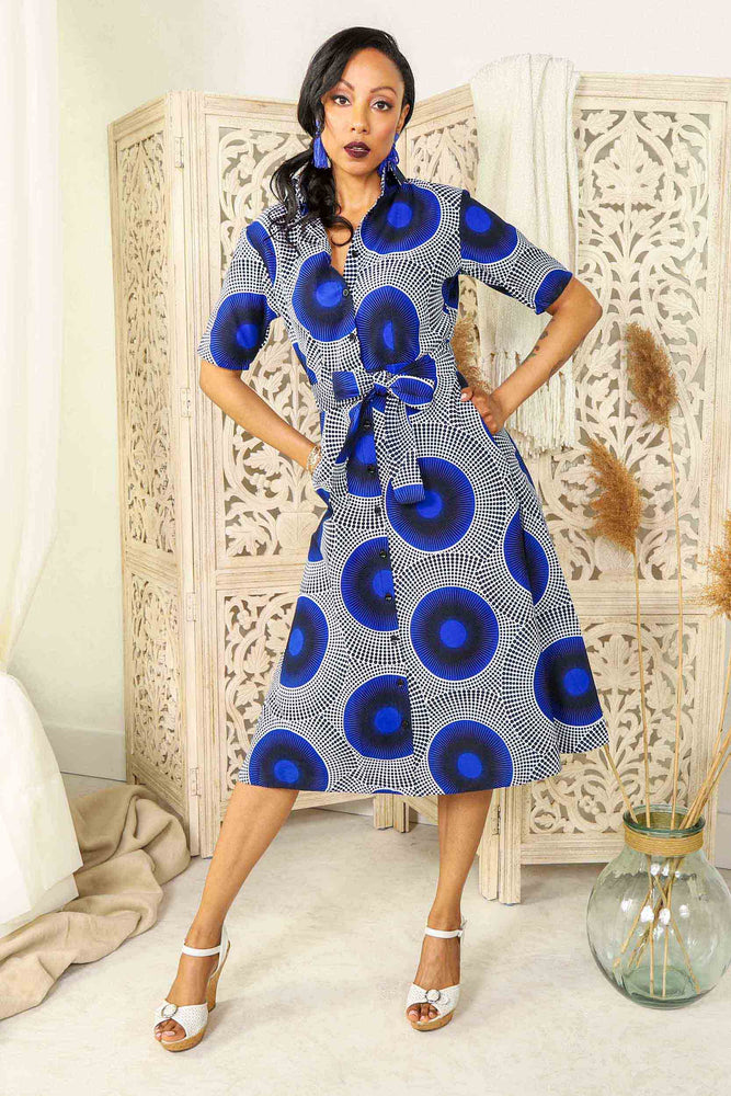 blue shirt dress. floral shirt dress. floral jacket. floral long top. blue dress with belt. Belted long dress. Africa dress for ladies. African woman dress. African print dresses for women.
