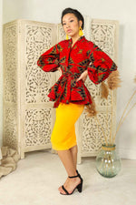 Red peplum blouse. Red peplum jacket. Puff sleeve peplum blazer. Puff sleeve peplum top.