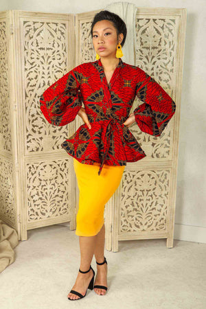Red peplum blouse. Red peplum jacket. Puff sleeve peplum blazer. african Puff sleeve peplum top.