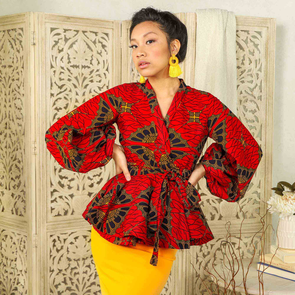 Red african peplum blouse. Red floral peplum jacket. Puff sleeve peplum blazer. Puff sleeve peplum top.