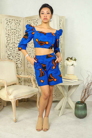 Load image into Gallery viewer, blue and orange African top. Africa top. African crop top. Floral crop top. Summer crop top. Crop top for women. African print tops. African print crop tops for plus size.