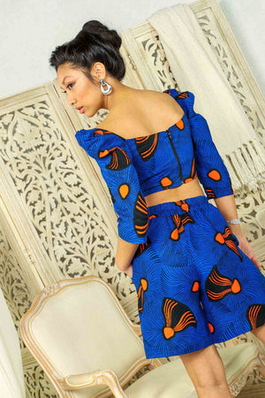 Load image into Gallery viewer, African top. Africa top. African crop top. Floral crop top. Summer crop top. Crop top for women. African print tops. African print crop tops for plus size.