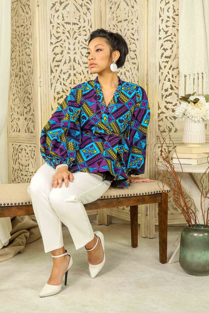 blue african top. Africa top. African peplum to. African print wrap top. African print pelpum blouse. African print peplum top for women.