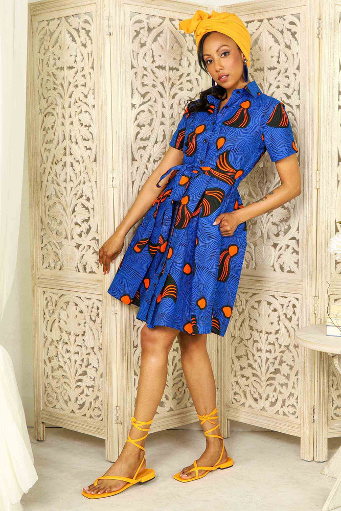 blue dress. blue african dress. African dresses for woman. African print dresses. ankara dresses. African shirt dress. African mini dress. African short dresses for women. African short dress with pockets