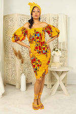 Yellow Pencil dress for women. Yellow dress for women. Yellow ankara dress. Yellow African dress for women. African dress for women. Ankara dress for women. Yellow and red african print dress. African pencil dress. Yellow dress with puff sleeves.