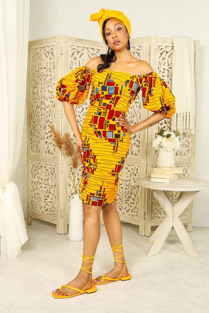 Yellow Pencil dress for women. Yellow dress for women. Yellow ankara dress. Yellow African dress for women. African dress for women. Ankara dress for women. Yellow and red african print dress. African pencil dress. Yellow dress with puff sleeves. SHort dresses for women. African short dresses.