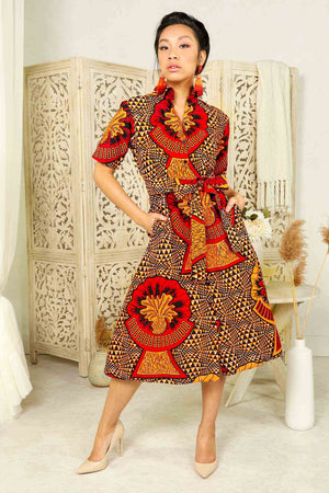 Orange african dress with pockets. blue shirt dress. floral shirt dress. floral jacket. floral long top. blue dress with belt. Belted long dress. Africa dress for ladies. African woman dress. African print dresses for women.