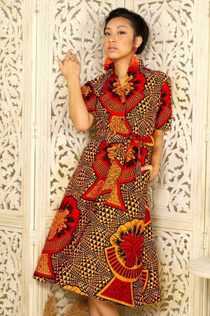 Load image into Gallery viewer, LENIA African Print Shirt Dress