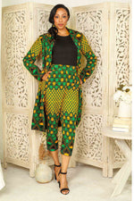 Yellow and Green African long jacket and African pant for women. African clothing for women