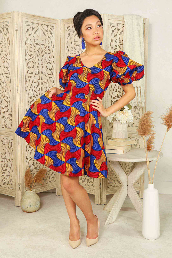 Blue african dress puff sleeves. Red mini dress. African dress with puff sleeves. African print mini dress with pockets.
