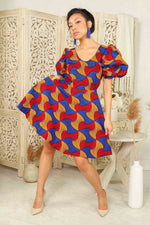 red african dress puff sleeves. Red mini dress. African dress with puff sleeves. African print mini dress with pockets.