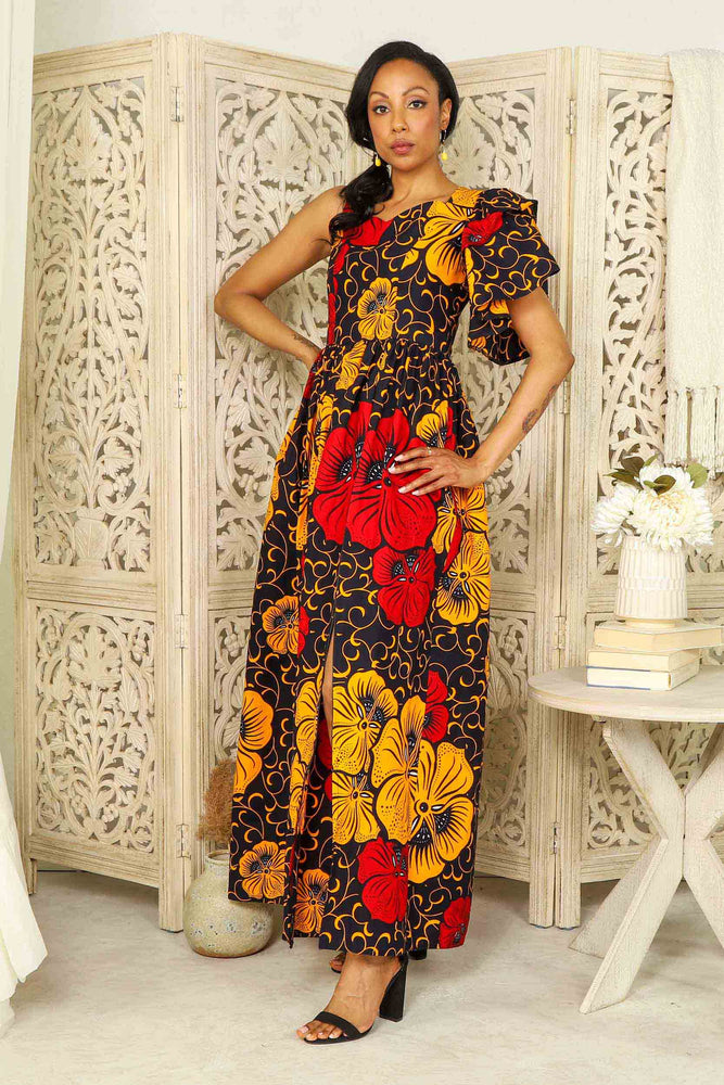 african print long dress. African dress with pockets. Yellow and red Ankara dress. African dress for women