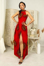 Halter neck red african maxi dress