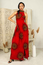 African dress. red african maxi dress for women