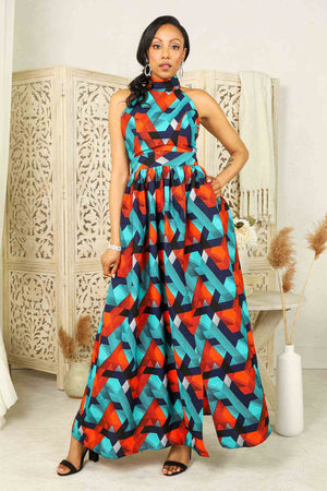 African long dress. African maxi dress for woman. blue and orange african dress. Long dress with pocket. Summer dresses for women.
