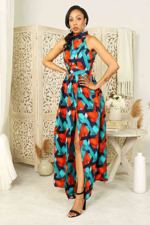 Load image into Gallery viewer, African long dress. African maxi dress for woman. blue and orange african dress. Long dress with pocket. Summer dresses for women.